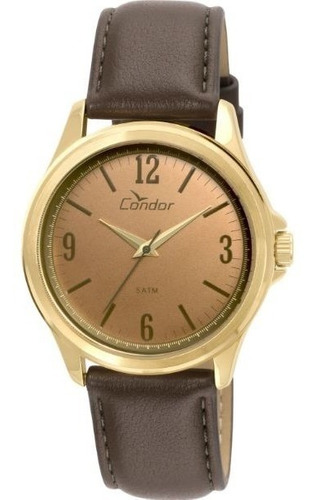relógio condor masculino couro clássico social co2039ae2m