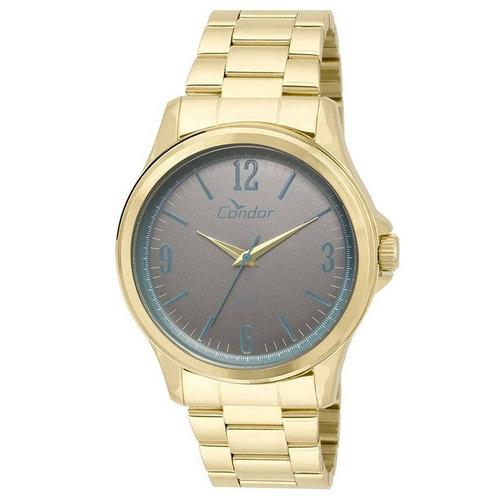 relógio condor masculino dourado aço analógico co2039ag/4c