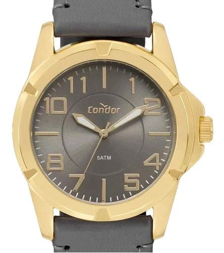 relógio condor masculino dourado esportivo co2035kxf/2c - nf