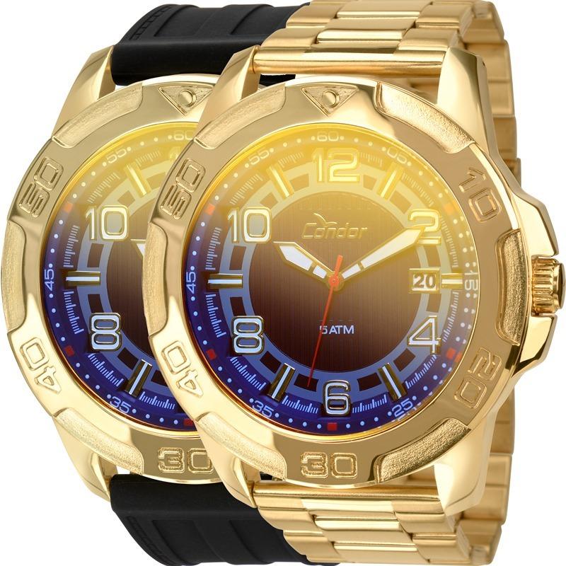 dcfa9396389 relógio condor masculino dourado troca pulseiras co2415aj 4a. Carregando  zoom.