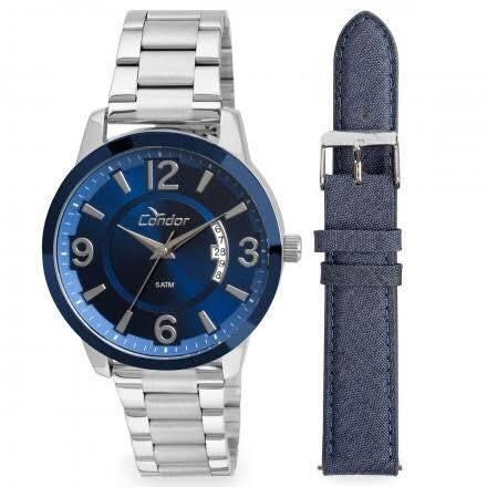 relógio condor masculino metal e couro jeans fundo azul,co21