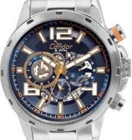 relógio condor masculino prata azul covd33ba/3a original
