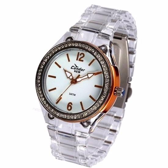 5512b6e43e0 Relógio Condor Strass Rose Gold Pulseira Transp Acrilica - R  159