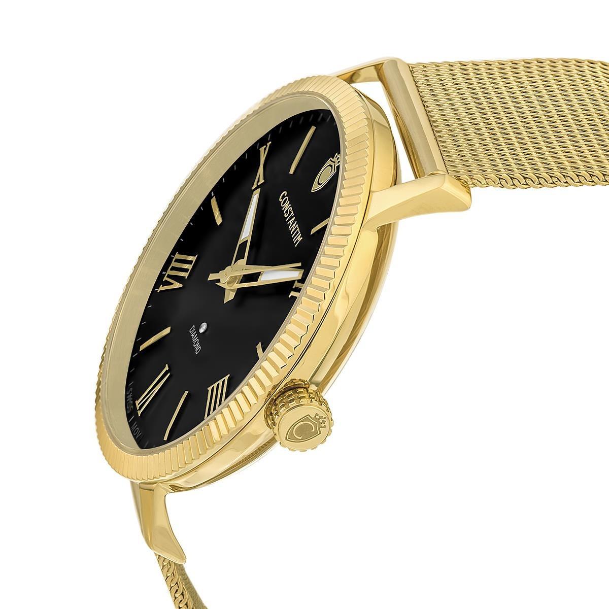 6e61dc55586 relógio constantim diamond gold black fundo preto. Carregando zoom.