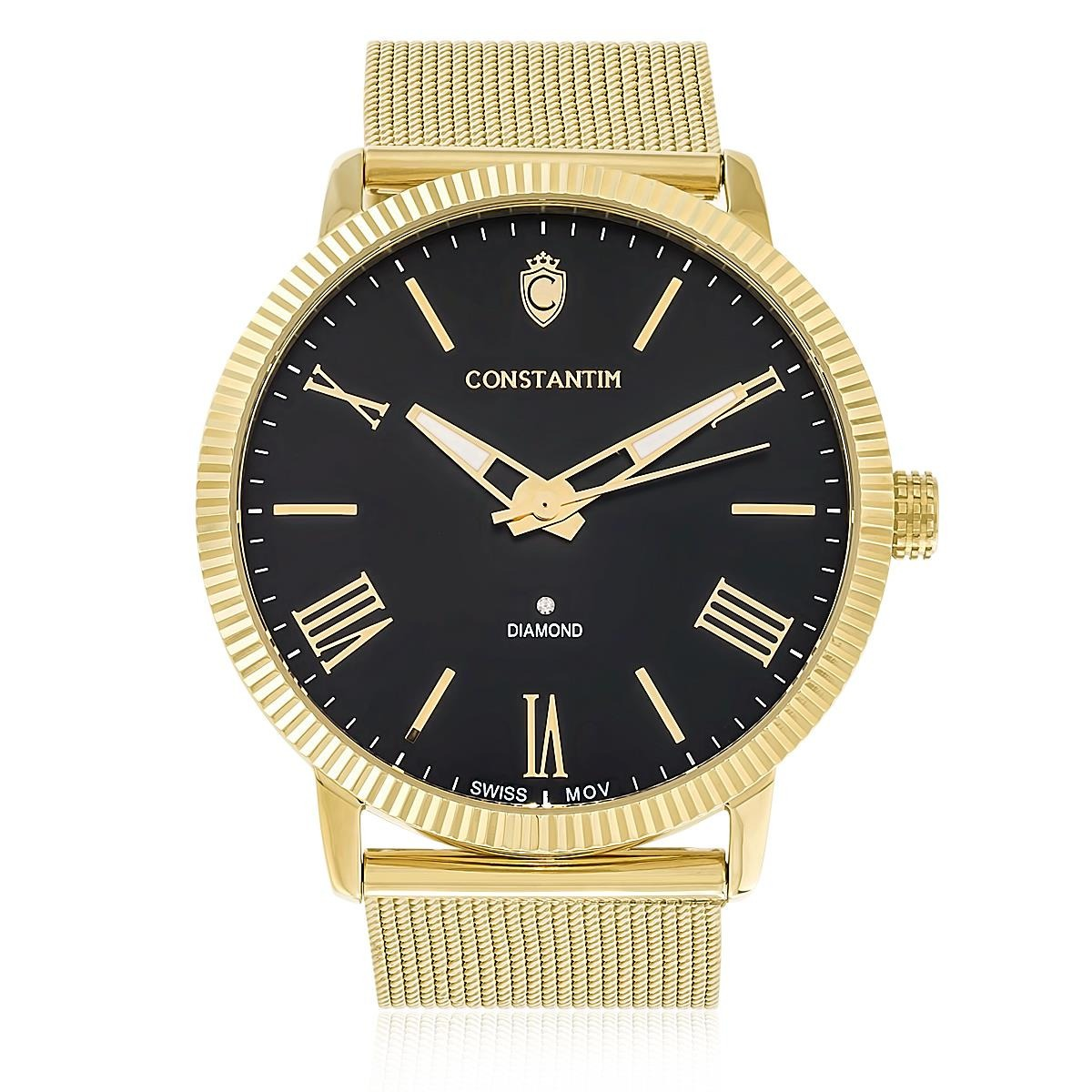 3b684806ad1 relógio constantim diamond gold black fundo preto. Carregando zoom.