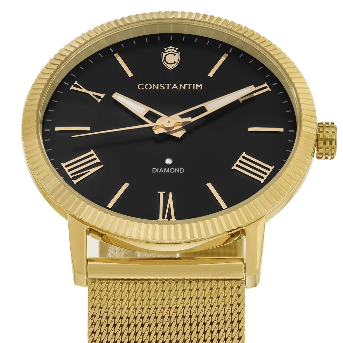 3170c88b598 Relógio Constantim Diamond Gold Black Fundo Preto - R  849
