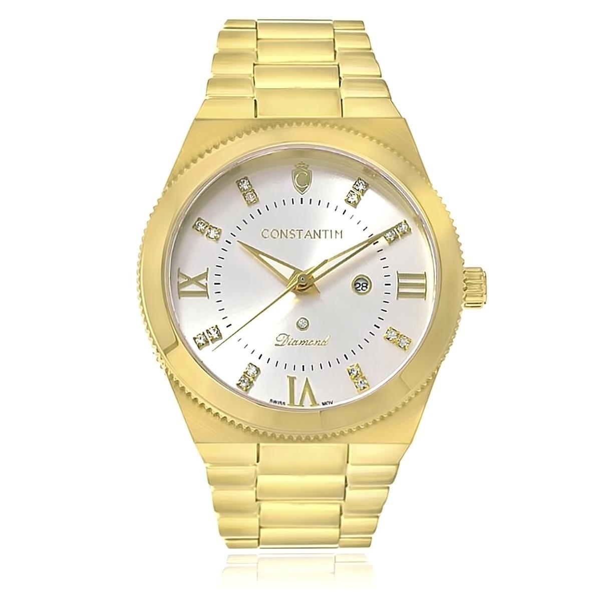 316da3e7fcf relógio constantim diamond gold silver analógico 6651-gs dou. Carregando  zoom.