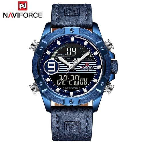relogio couro masculino naviforce 9146 azul frete grátis