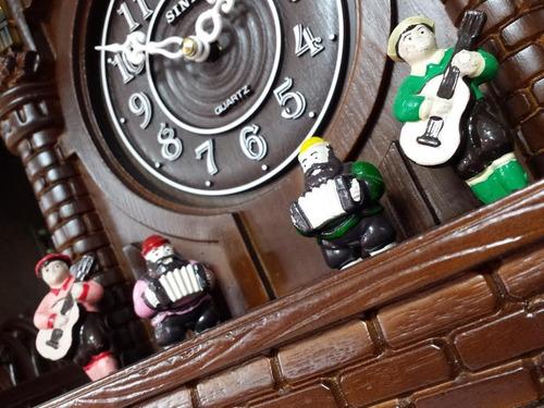 relógio cuco com música madeira sensor noturno volume sinix