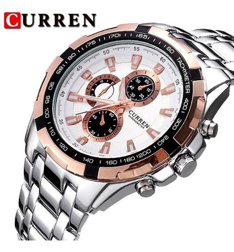 relógio curren 8023 branco luxo militar : frete gratis