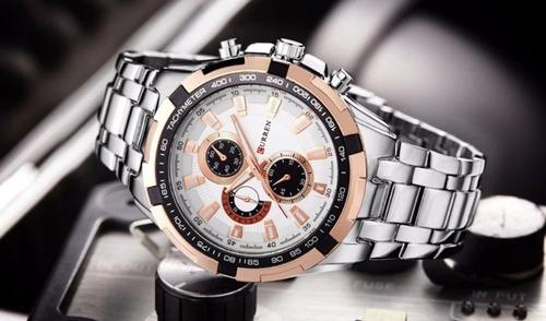 relógio curren 8023 pulseira aço inox prova d'água 30m
