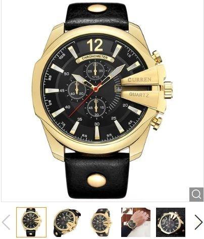 03c8b1859e687 Relógio Curren 8176 Original Masculino Pulseira De Couro - R  115