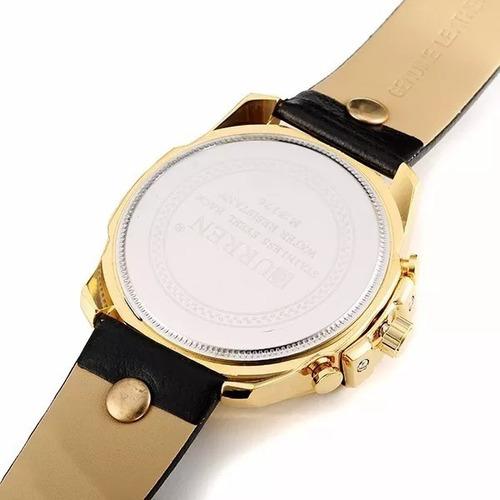 relógio curren 8176 original na caixa pulseira de couro