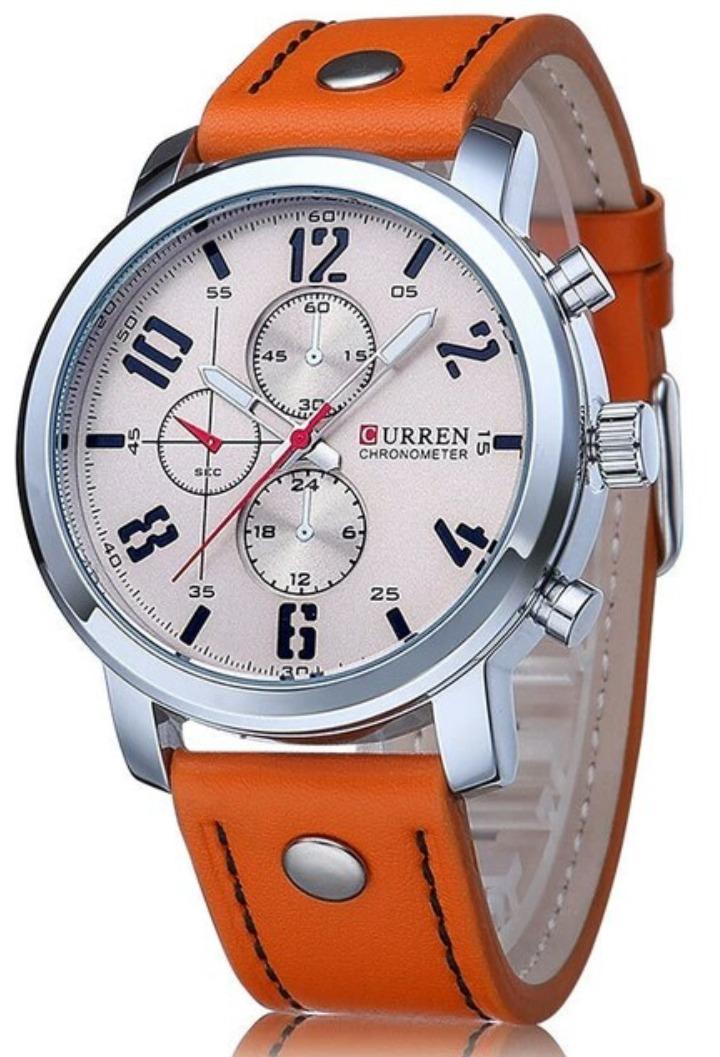 4f1bfff300a relógio curren 8192 pulseira de couro esportivo militar. Carregando zoom.
