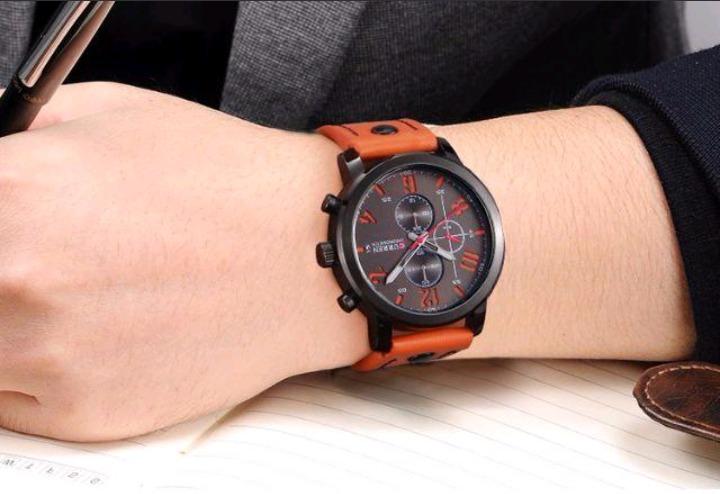 2458159d569 Relógio Curren 8192 Pulseira De Couro Esportivo Militar - R  59