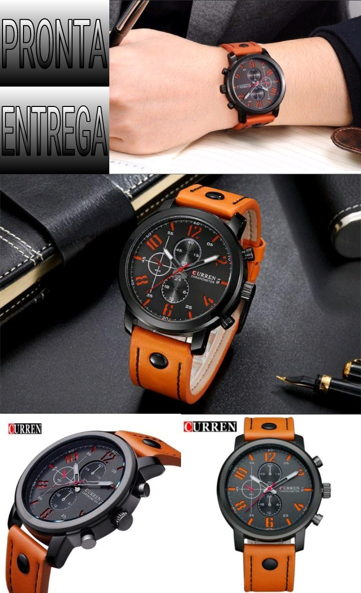473c5d8140b relógio curren 8192 pulseira de couro esportivo militar. Carregando zoom.