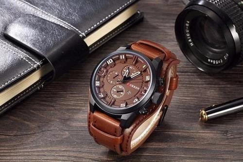 relógio curren 8225 masculino original, couro, casual/social