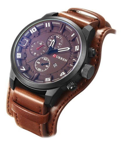 relógio curren 8225 masculino pulseira couro social original