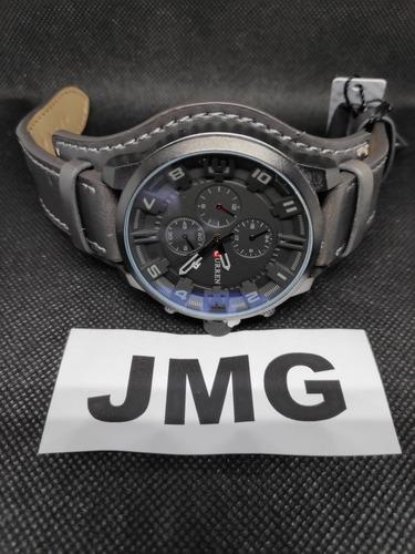 relógio curren 8225 preto top luxo pulseira d couro na caixa