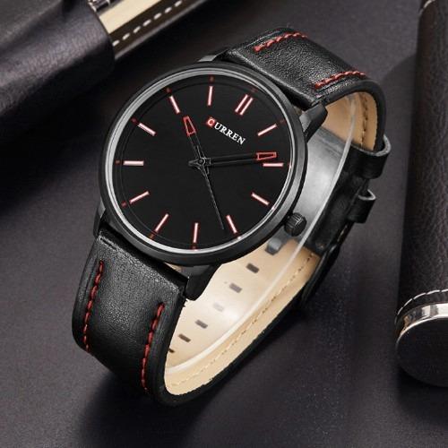 relógio curren 8233b preto original luxo couro esportivo