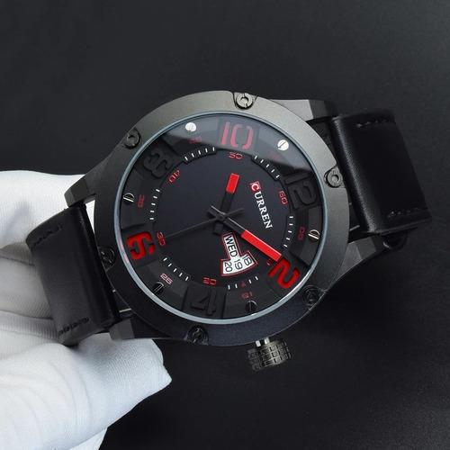 relógio curren 8251 couro prova d'água calendário quartz
