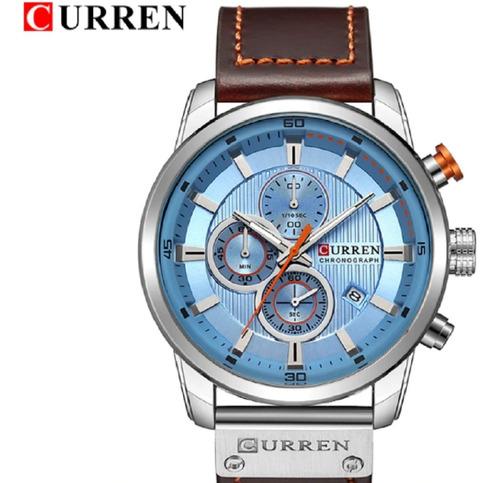 relógio curren 8291 todo funcional azul lindo c.04