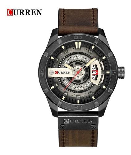 relógio curren 8301 original analógioco couro luxo promoção