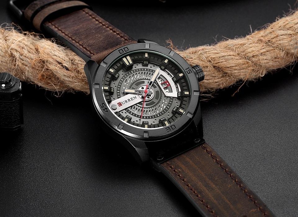 172383bb2d9 Relógio Curren 8301 Original De Luxo Calendário Couro Novo - R  128 ...