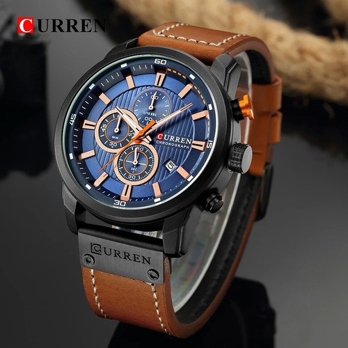 relógio curren couro masculino todo funcional original