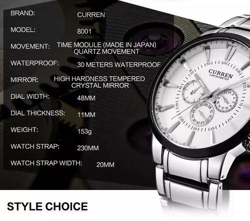relógio curren luxo cronometro prova dágua 8001ag masculino