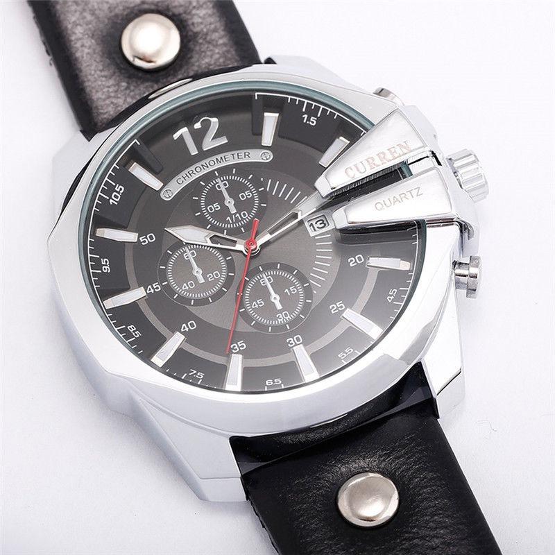3d4c78fb2cd relógio curren masculino 8176 pulseira couro promoção. Carregando zoom.