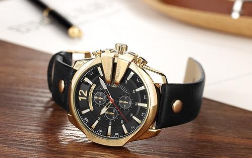 09789e8ce14 Carregando zoom... relógio importado curren 8176 masculino dourado preto  couro · relógio curren masculino