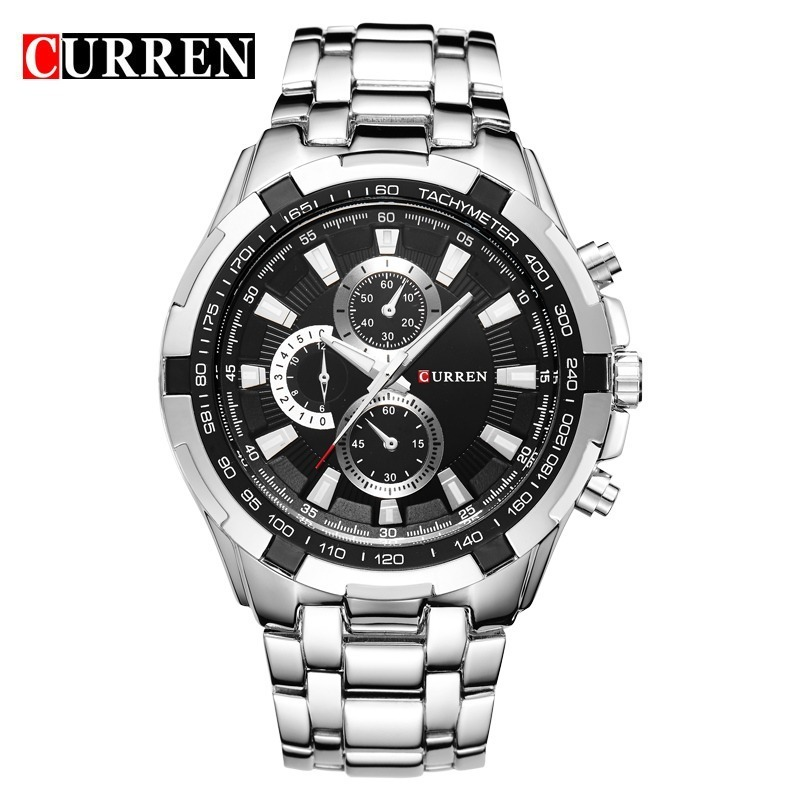 c5ef855be55 Relógio Curren Masculino Original 8023 Social Luxo Inox - R  120
