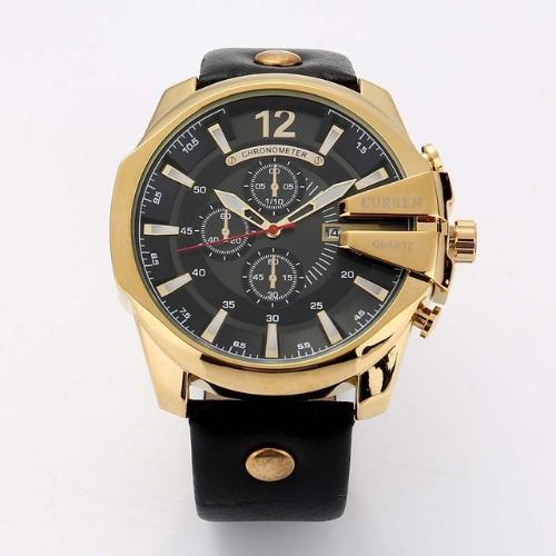 4c411afa25c relógio curren masculino importado 8176 dourado preto couro relógio curren  masculino