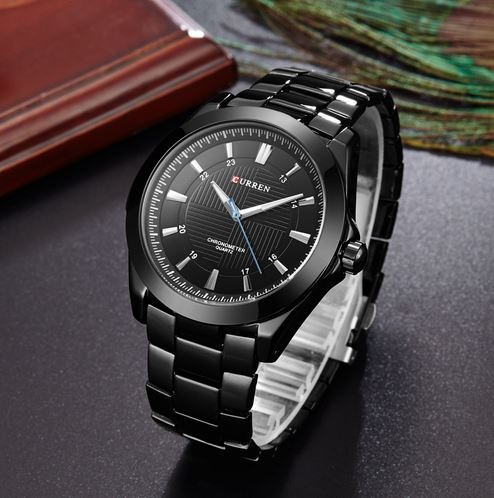cdc2c24bc1448 Relógio Curren Masculino Com Pulseira De Aço Inox Preto - R  99