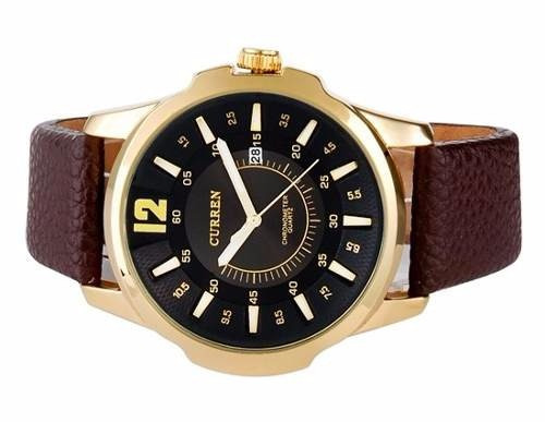 f283374e7f3 Relógio Curren Masculino Dourado Barato Pulseira Em Couro - R  149 ...