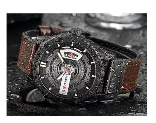 relógio curren masculino esportivo militares couro-preto