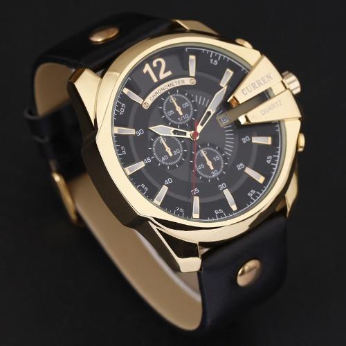d70368e3565 Relógio Curren Masculino Importado 8176 Dourado Preto Couro - R  120 ...