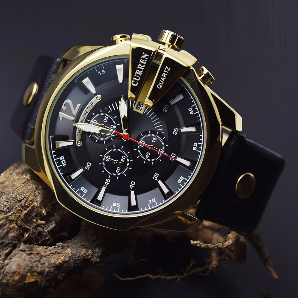 5679de5e93b relogio curren masculino luxo lançamento gold preto ad1514. Carregando zoom.