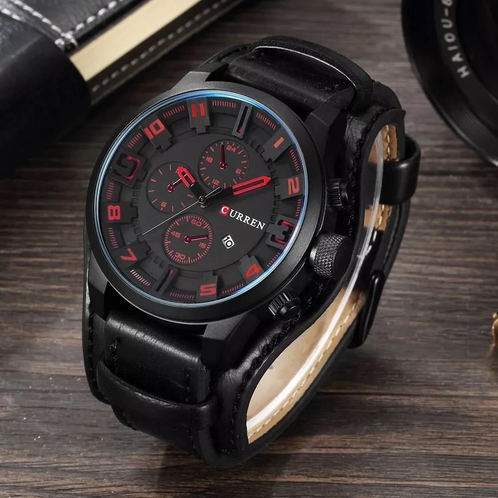 550a6548f43 relógio curren masculino pulseira de couro preto promoção. Carregando zoom.