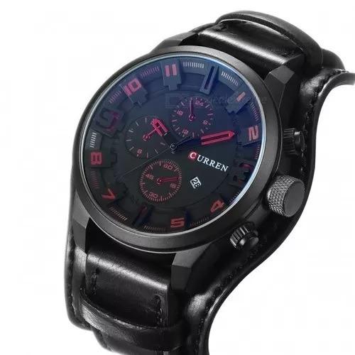 relógio curren masculino pulseira de couro preto promoção