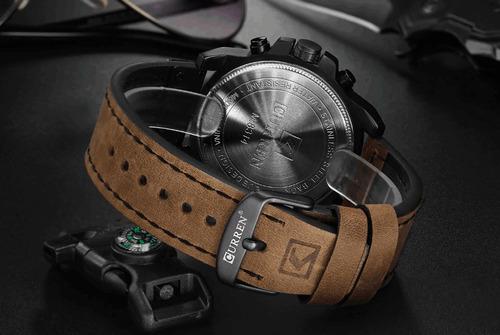 relógio curren masculino pulseira de couro à prova d'água