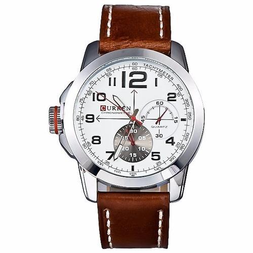 relógio curren masculino pulseira em couro legítimo