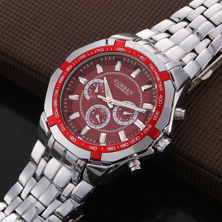 a688e34d3d1 Relogio Curren Masculino Vermelho 8084 Luxo Aço Inoxidável - R  84 ...