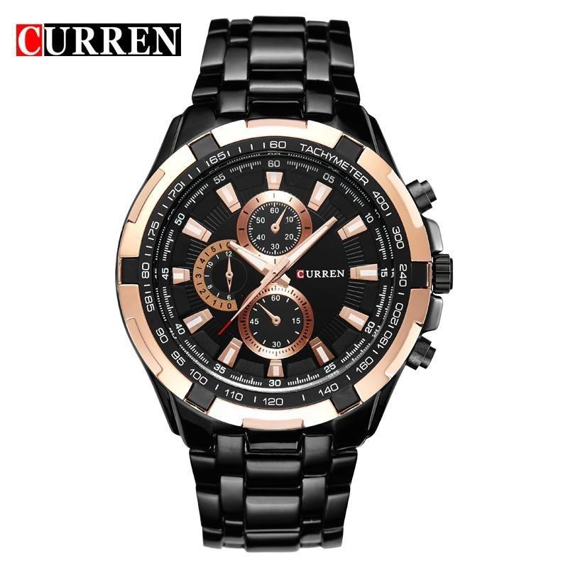 dc5685361af relógio curren original marca de luxo aço inox preto novo. Carregando zoom.