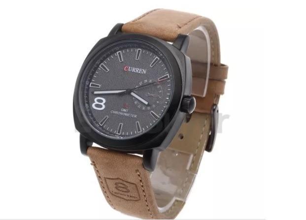 a7a0770a870 Relógio Curren Quartz Com Pulseira De Couro Marrom - R  59