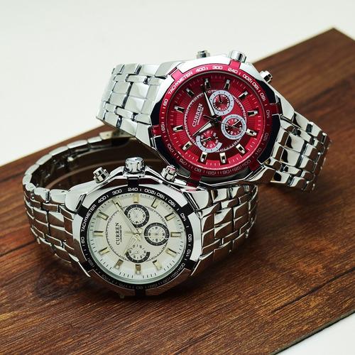 relógio curren quartzo na caixa  barato masculino + brinde