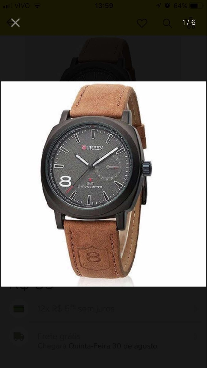 a7f81b43d relógio curtem 8 (shshd) quartuz ótima qualidade. Carregando zoom.