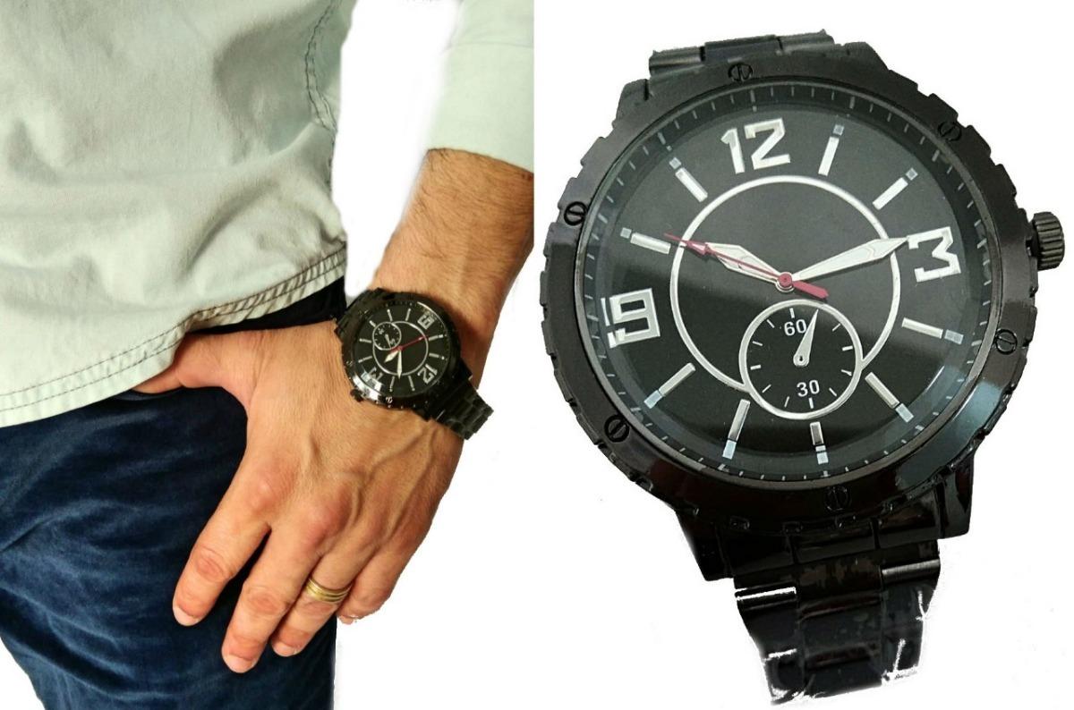 574041d6c25 relógio da moda masculino preto grande importado moderno aço. Carregando  zoom.