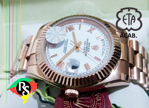 relógio day date 40mm branco rose romano cravejado safira